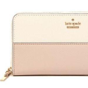 KATE SPADE - Long Wallet - White/Pink/Beige